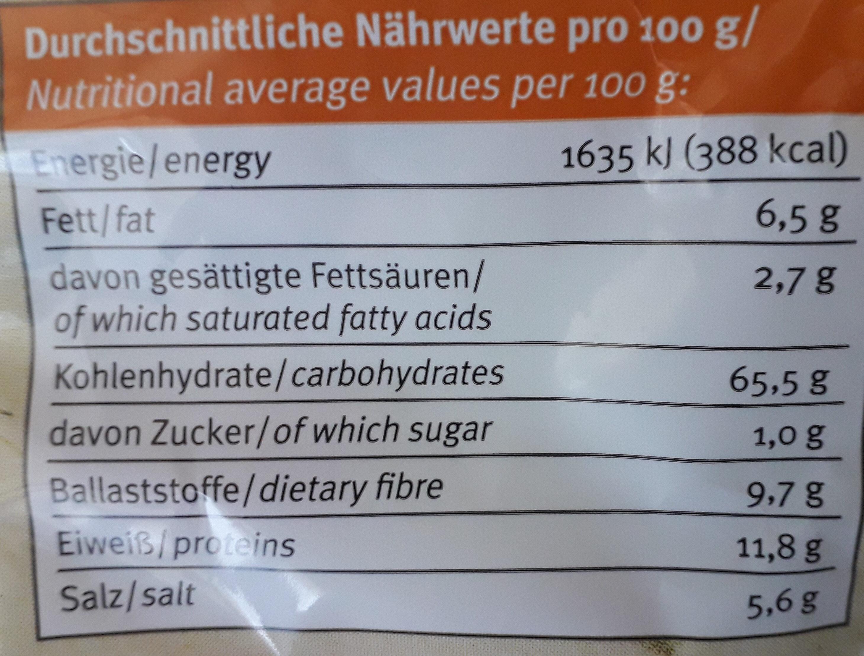 Zoute Krakelingen Erdmann Hauser - Voedingswaarden - fr
