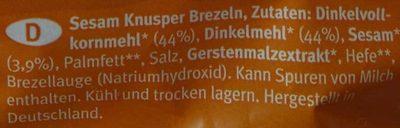 Sesam Knusper Brezeln - Inhaltsstoffe