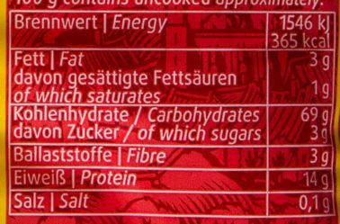 Schwäbische Knöpfle - Voedingswaarden - de