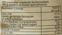 Oberschwäbische Landnudeln Spiralen - Voedingswaarden - de