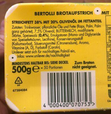 Bertolli Magarine - Ingrédients - fr