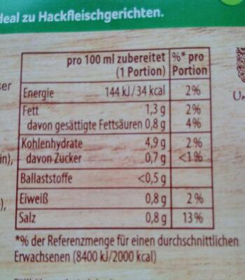 Jäger Soße, FüR 3 x 1 / 4 L - Informations nutritionnelles - de