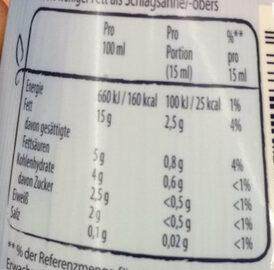 Rama Cremefine zum Kochen, 15% Fett - Informations nutritionnelles - de