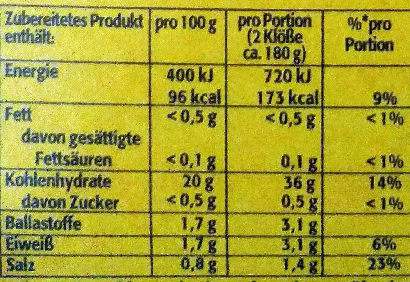 Pfanni Kartoffelteig 12 Knodel Halb & Halb (potato Dumpling Mix) - Informations nutritionnelles