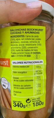 Salchichas cocidas - Informació nutricional - es
