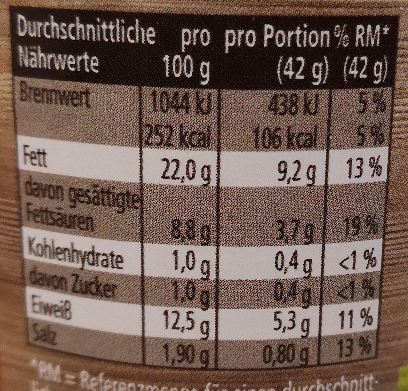 Bauernküche Wiener extra knackig - Nährwertangaben