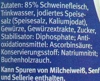 Schinkenwürstchen - Inhaltsstoffe