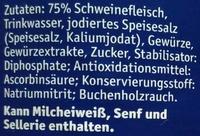 Bockwurst in zarter Eigenhaut salzreduziert - Ingrédients - de