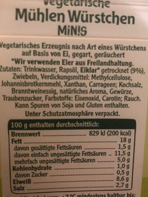 Vegetarische Mühlen Würstchen Minis - Ingrédients - fr