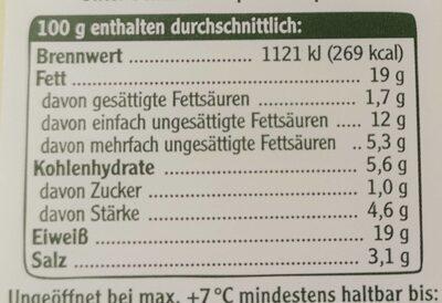 Vegetarische Mühlen Salami - Nutrition facts - de