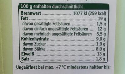 Vegetarische Mühlen Frikadellen Klassich Min!s - Nährwertangaben - de