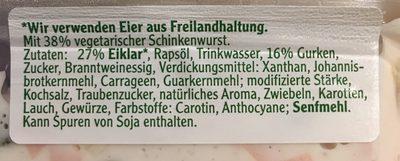 Vegetarischer Schinken Spicker Salat - Ingrédients - fr