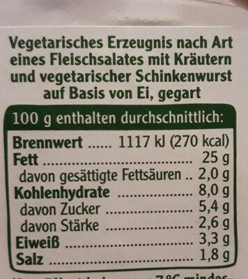 vegetarischer Schinken Spicker Salat Kräuter - Nutrition facts - de