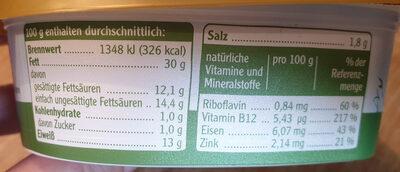 Pommersche Leberwurst - Voedingswaarden