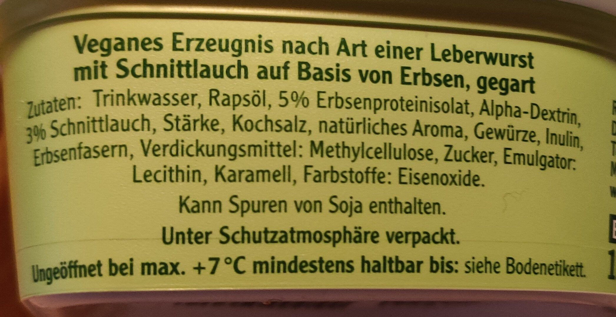 Vegane Pommersche Schnittlauch - Ingredienti - de