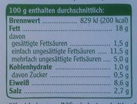 Vegetarische Mühlen Würstchen - Nährwertangaben - de