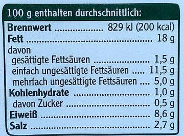 Vegetarische Mühlen Würstchen - Nährwertangaben