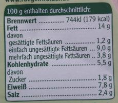 Rügenwalder Mühle Vegetarischer Schinken Spicker Schnittlauch - Informations nutritionnelles - de