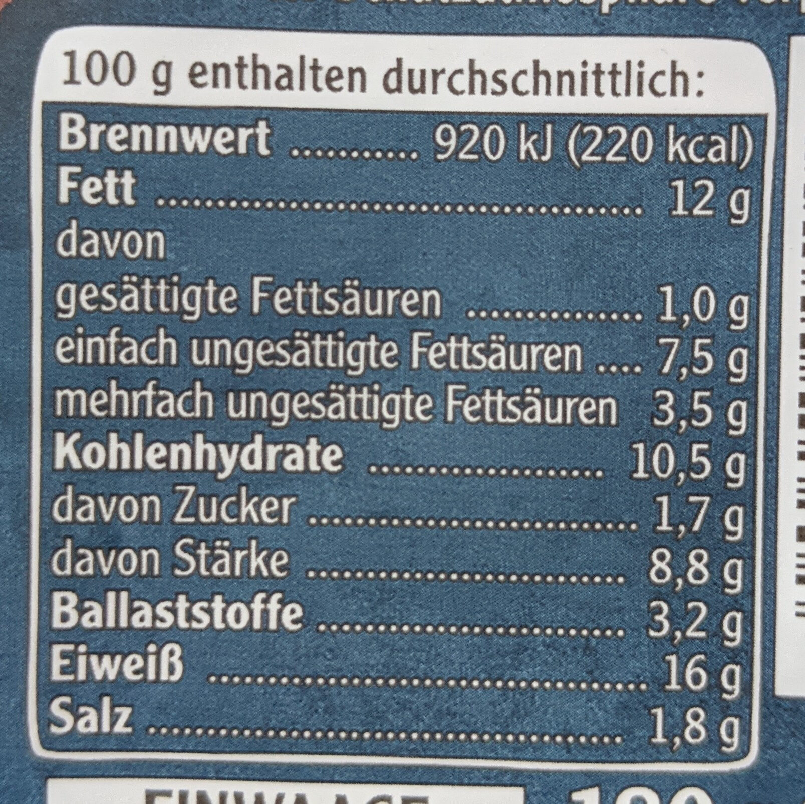 Vegetarische Mühlen Schnitzel Klassisch - Informazioni nutrizionali - de