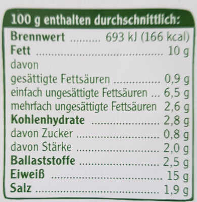 Vegetarische Mühlen Bratwurst - Nutrition facts