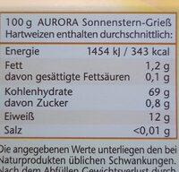 Aurora Sonnenstern Gries Hartweizen - Nährwertangaben - en