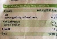 Pizza Mehl - Nutrition facts - en