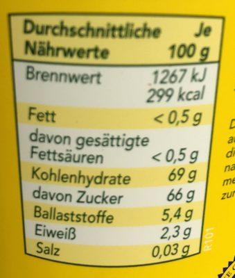 Original Grafschafter Goldsaft Zuckerrübensirup - Nährwertangaben