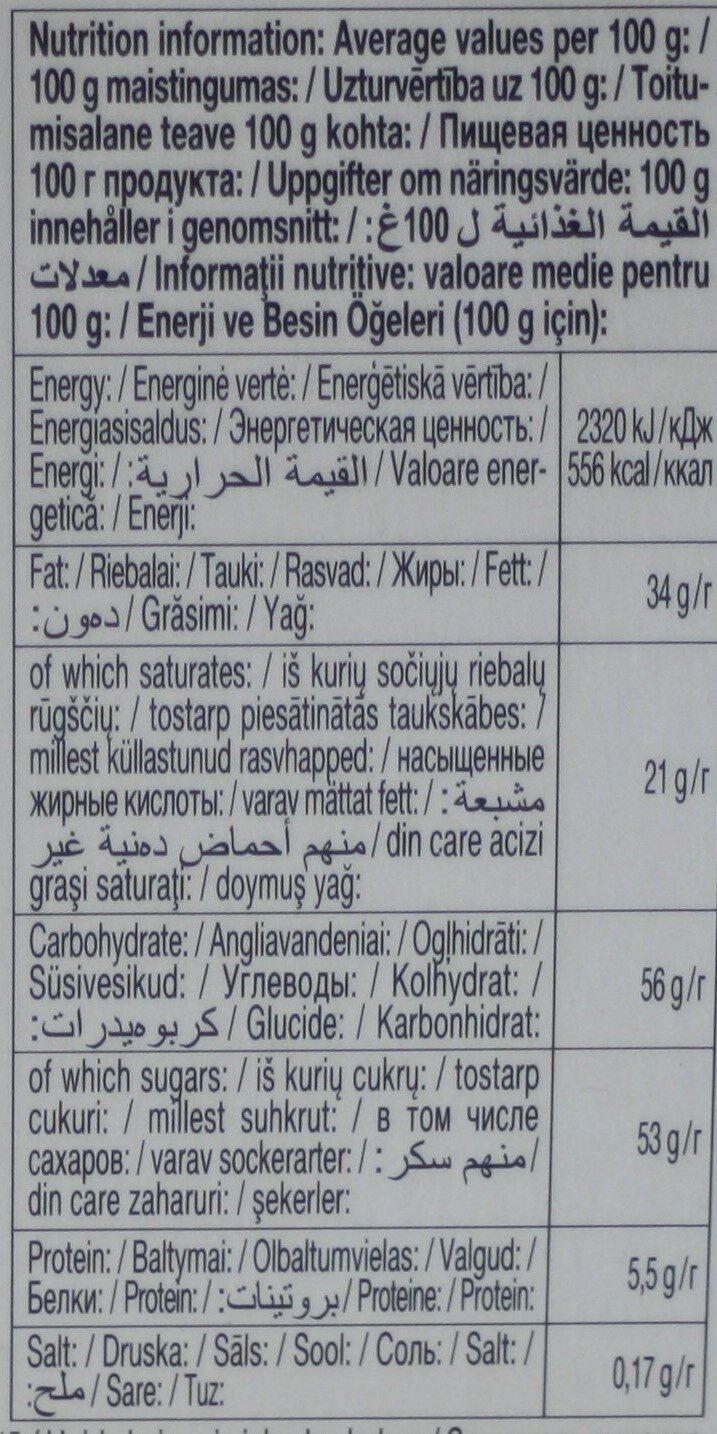 Schogetten Ciocolată cu lapte cu bucățele de biscuiți cu ovăz - Пищевая и энергетическая ценность - ro