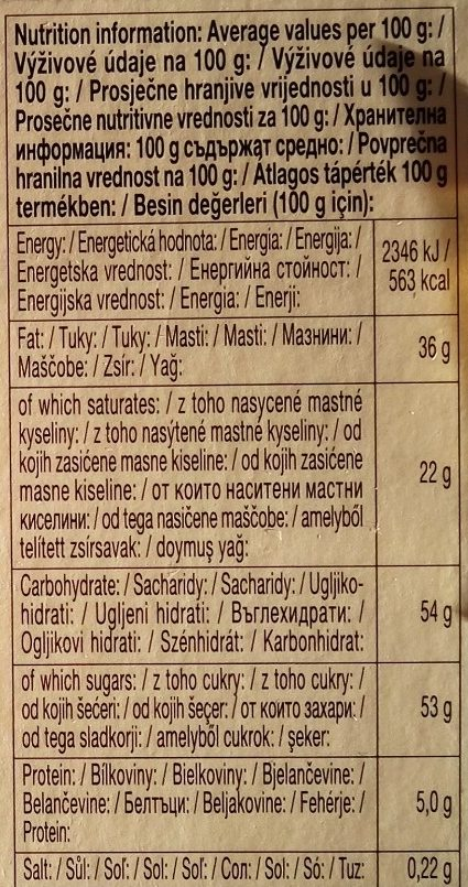 Chocolate Schogetten Black & White - Nutrition facts