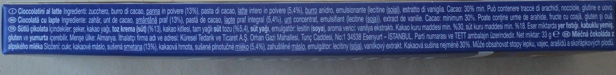 Schogetten Ciocolată cu lapte - Składniki - ro