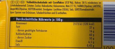 Corn flakes - Nährwertangaben - de