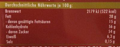 Ritter Sport Rum Trauben Nuss - Informations nutritionnelles