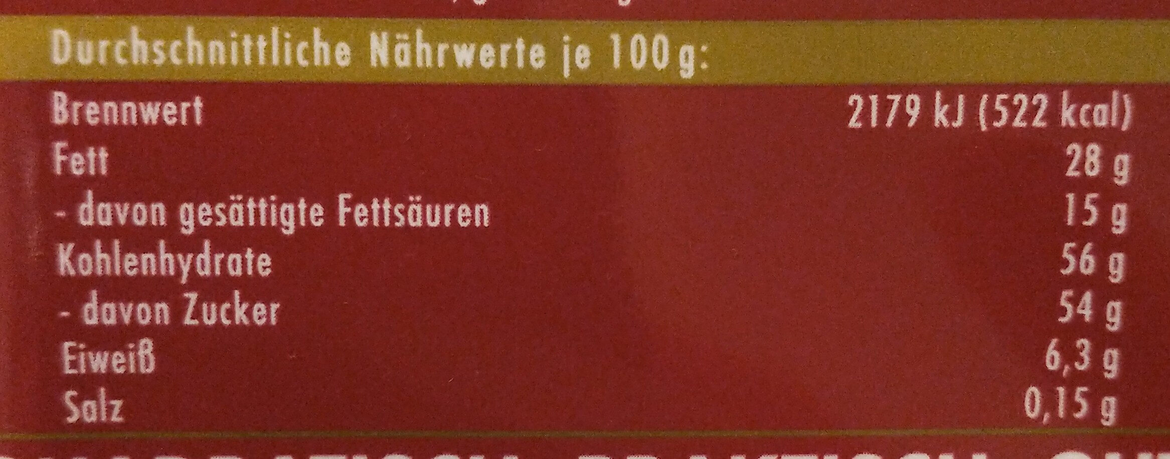 Rum Trauben Nuss - Nutrition facts - de