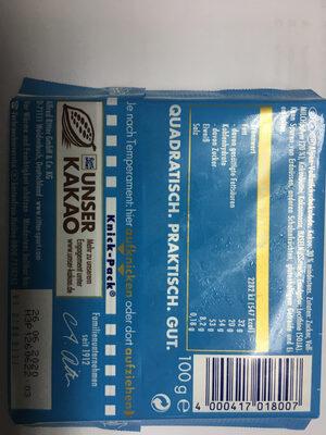 Ritter Sport Chocolat supérieur au lait des Alpes - Nutrition facts