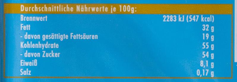 Chocolat supérieur au lait des Alpes - Voedingswaarden - fr
