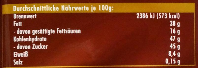 Whole Hazelnuts - Ernæringsfakta - fr