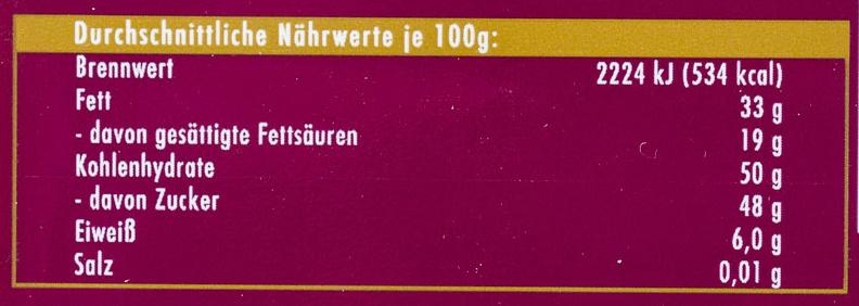 Ritter Sport noir - Informations nutritionnelles