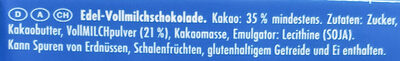 Ritter Sport Edel-Vollmilch - Ingrédients - de