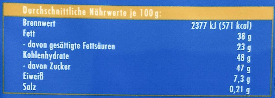 Ritter Sport Edel-Vollmilch - Informations nutritionnelles - de