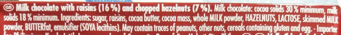 Raisins Hazelnuts - Ingredienti - en