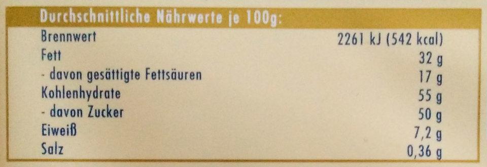 Ritter Sport Keks + Nuss - Informations nutritionnelles - de