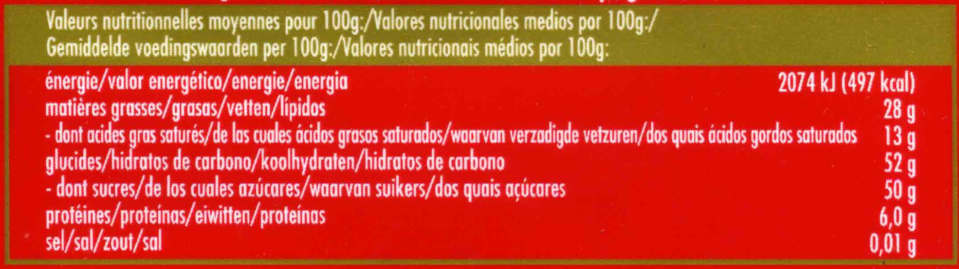 Ritters Sport Marzipan - Nutrition facts