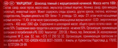 Marzipan - Пищевая и энергетическая ценность - ru