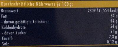 Nugat - Výživové údaje - de