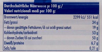 Ritter Sport mini Bunter Mix - Informazioni nutrizionali - de