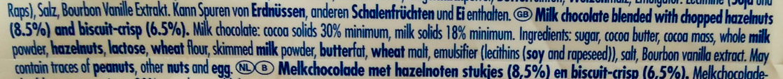 Ritter Sport Biscuits + Nuts - Ingredients