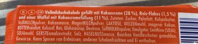 Vollmilchschokolade Waffel - Ingrédients - fr