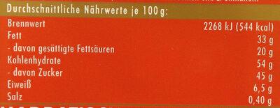 Vollmilchschokolade Waffel - Informations nutritionnelles - de