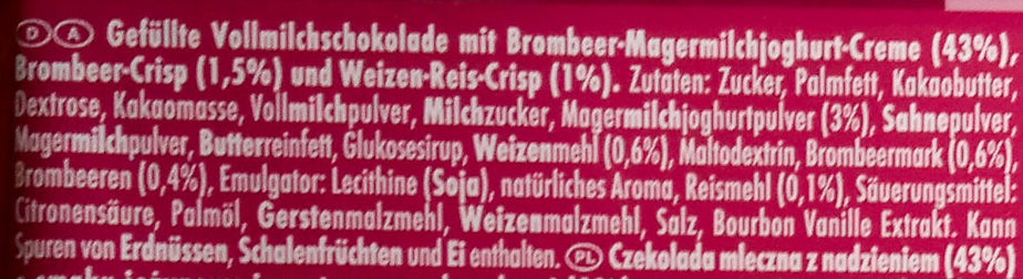 Ritter Sport Brombeer Joghurt - Ingredients