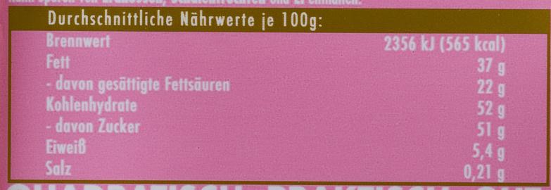 Ritter Sport Erdbeer Joghurt - Nährwertangaben